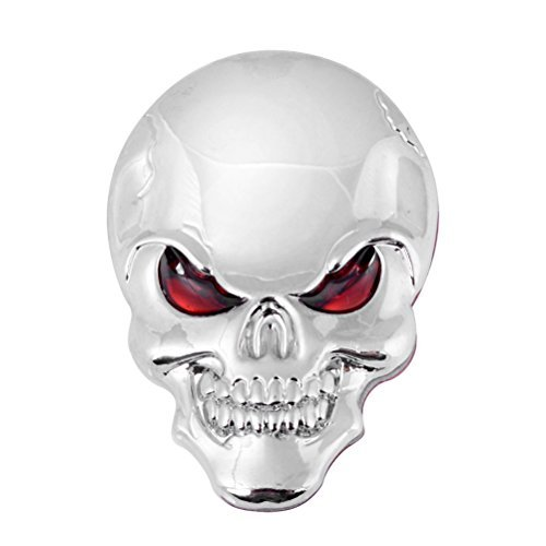 3D Chrome Skull Red Eyes Metal Decal Emblem Sticker Fairing Custom Motorcycle Cruiser Sport Bike