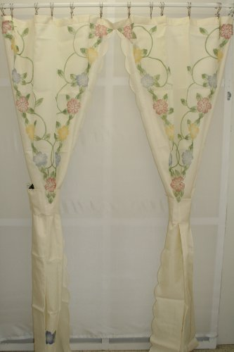 Cascade Floral Split Shower Curtain with tiebacks Ecru/Multi ()