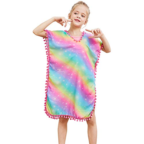 QtGirl Cover Up for Girls Swimsuit Cover Ups, Bathing Suit Beach Dress Cover-Up V-Neck with Tassel for Kids Girls Summer Rainbow