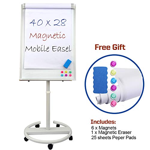 Dexboard Dry Erase Easel 40 x 28 inch, Rolling Round Stand Mobile Whiteboard w/Flipchart Pad, Magnets & Eraser
