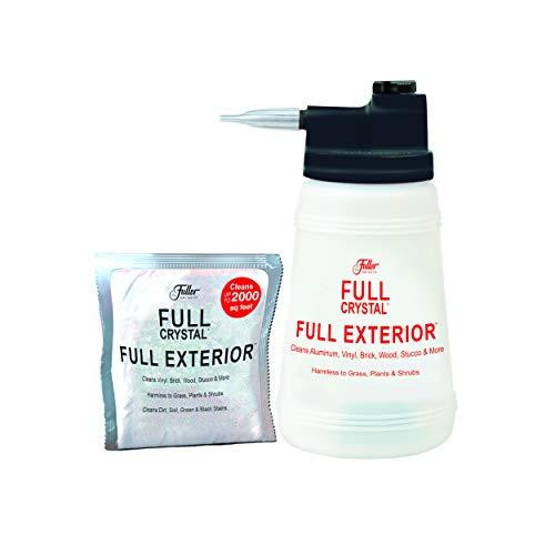 Full Exterior Kit - Bottle, Lid with Hose Attachment and One 4 oz. Crystal Powder Outdoor Cleaner - Non-Toxic, No Scrub, No Rinse Cleaning Kit - Shipped Product Packaging May Vary