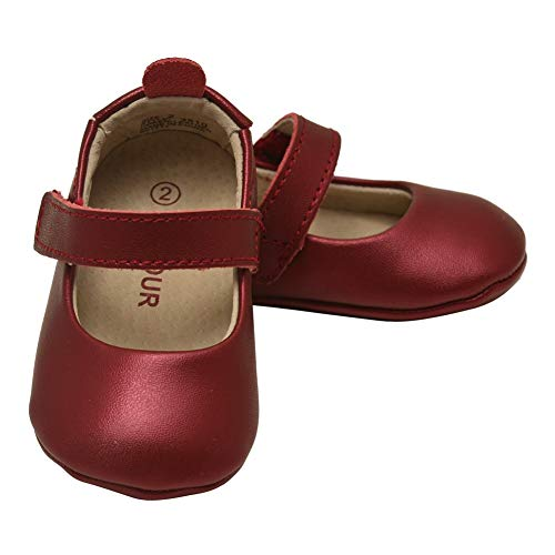 L`Amour Baby Girls Red Leather Crib Soft Sole Mary Jane 4 ()