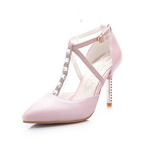 Sottolineato tacchi Chiusa calzature Pompe Molle Donne Amoonyfashion Punta Rosa Materiale wC5Egq
