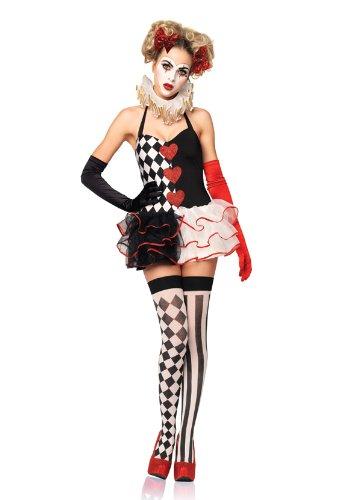 Sexy Harlequin Joker Costumes (Leg Avenue Women's 2 Piece Harlequin Halter Dress, Black/White, Medium/Large)