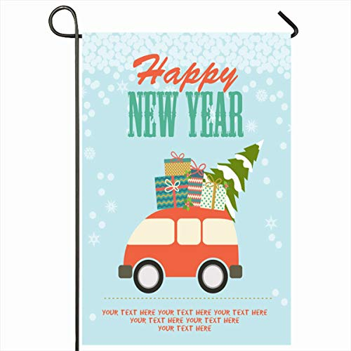 Ahawoso Outdoor Garden Flag 12x18 Inches Road Abstract Happy New Year Holidays Retro Winter Vintage Box Car Celebration Christmas Cute Home Decor Seasonal Double Sides House Yard Sign Banner