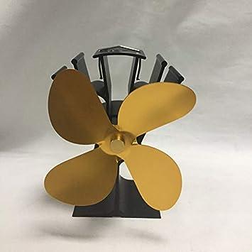 Ventilador de estufa accionado por calor Pudincoco de 4 cuchillas Ventilador silencioso de chimenea alimentado por calor silencioso, dorado: Amazon.es: ...