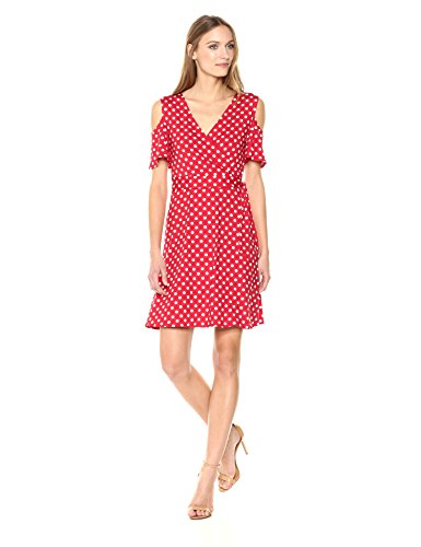 Star Vixen Women's Cutout Cold Shoulder Short Sleeve Faux Wrap Dress, Red/White Dot, M