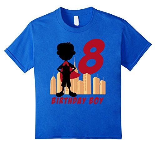 unisex-child Kids 8th Birthday Comic Superhero T-Shirt for 8 Yr Old Boys 8 Royal Blue (Comic Retro Old Shirt)