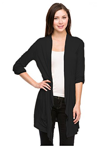 G2 Chic Women's Long Hem Draped Cardigan with 3/4 Sleeves and Pockets(TOP-CGN,BLK-M)