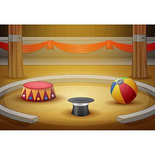 - YongFoto 5x3ft Cartoon Circus Activities Backdrop Magic Hat Drum Ball Props Photography Background for Children Party Birthday Party Decor Kids Boy Portraits Photo Shoot Studio Props Wallpaper