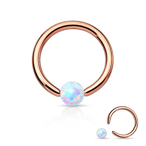 16 Gauge Belly Button Rings (16 Gauge Rose Gold Captive Bead Ring Round Synthetic Opal 316L Surgical Steel (Rose Gold & Opal))