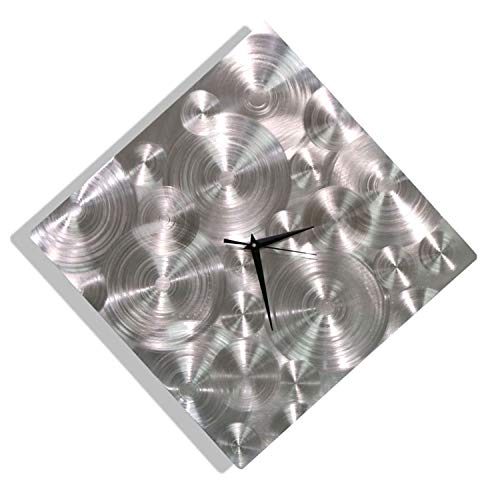 All Natural Silver Etched Modern Metal Clock - Abstract Functional Art - Home Decor - Office Accent - Spontaneity Clock By Jon Allen - 17-inch