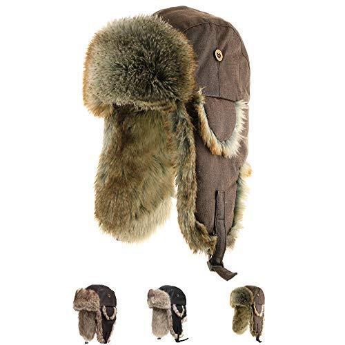 (Ushanka Trooper Russian Pilot Aviator Leather Winter Trapper Hat CHOCOLATE 6 7/8)