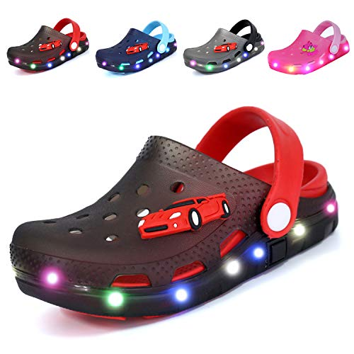 Nishiguang Kids Cute LED Flash Lighted Garden Shoes Clogs Sandals Children Boys Girls Toddlers Summer Breathable Slippers Black/Red 27
