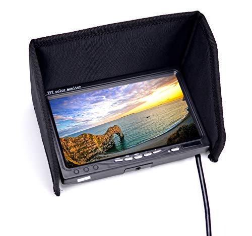 RC LCD FPV Monitor 7 Inch 1024x600 Display Video Screen HD IPS Monitor NO Blue Screen with Hood Sun Shield and XT60 to Deans Connector