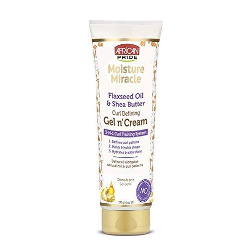 African Pride Moisture Miracle Gel n Cream - 3-In-1 Curl Training System, Defines Curls, Holds Shape, Hydrates, Adds Shine, Contains Flaxseed Oil & Shea Butter, Defines & Elongates, 6 oz