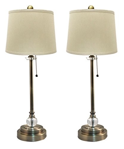 Royal Designs LS-1001AB-2 Buffet Lamps in Antique Brass with Linen Cream Hardback Lamp Shades - 27
