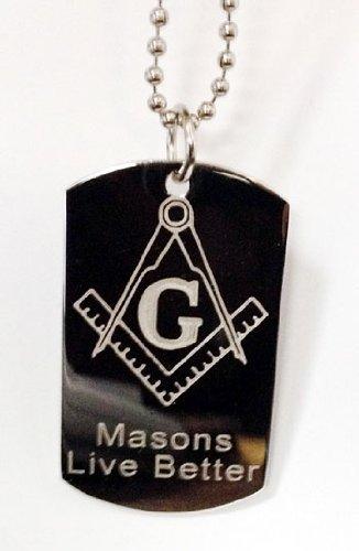 Mason Masons Masonic Live Better Logo Symbols - Military Dog Tag Luggage Tag Key Chain Keychain Metal Chain Necklace