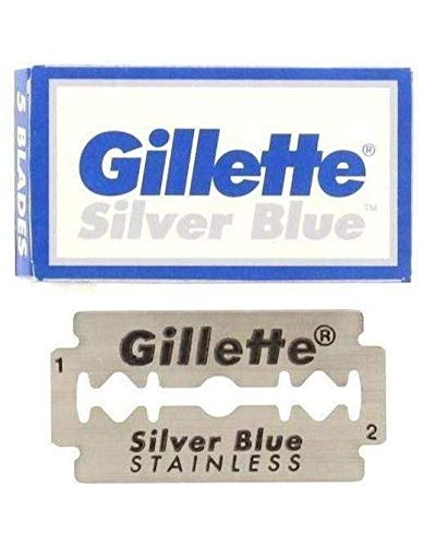 Stainless Blade Sterling Silver - 50 Silver Blue Double Edge Stainless Razor Blades Made in Russia