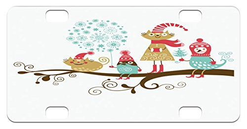 Kiddie Christmas Costumes (Christmas Mini License Plate by Lunarable, Cheerful Animals with Costumes on the Tree Branch in Winter Kids Nursery Theme, High Gloss Aluminum Novelty Plate, 2.94 L x 5.88 W Inches, Multicolor)