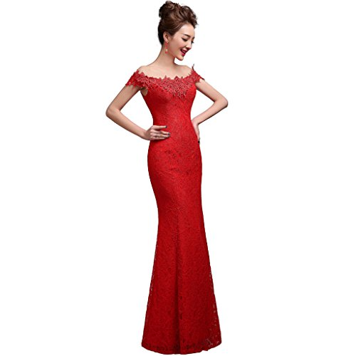 YIPEISHA Elegant Off The Shoulder Long Bridesmaid Lace Evening Dresses US 26W ()