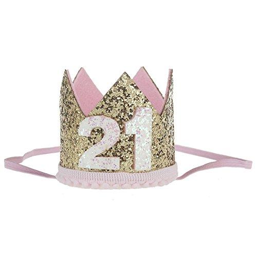21st Birthday Hats (ACTLATI Charm Women 21st Birthday Party Headwear Elastic Glitter Crown Hair Band Bling Unisex)