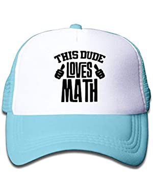 This Dude Loves Math-1 On Boys and Girls Trucker Hat, Youth Toddler Mesh Hats Baseball Cap