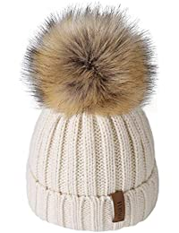 Kids Winter Faux Fur Pom Pom Hat Toddler Boys Girls Kids Knitted Beanie Hat (Ages 1-8)