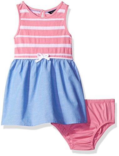 Nautica Baby Girls' Border Sail Print Dress, Light Pink, 24 Months Bodice Border Print Dress