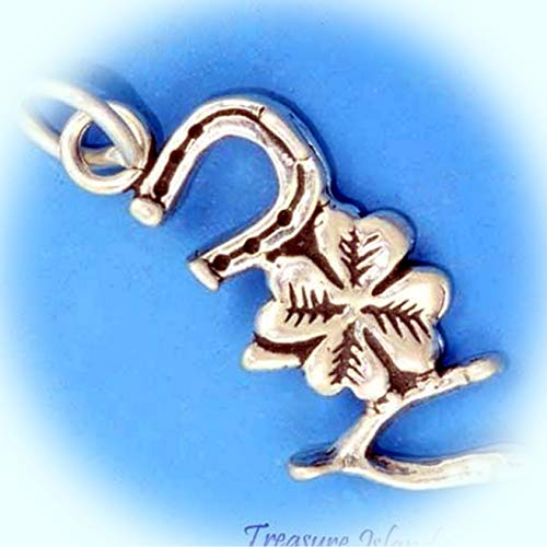 Good Luck Horseshoe Clover Wishbone .925 Solid Sterling Silver Charm Pendant Vintage Crafting Pendant Jewelry Making Supplies - DIY for Necklace Bracelet Accessories by CharmingSS]()