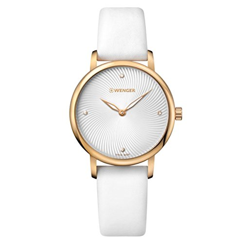 Wenger 01.1721.101 Women's Urban Donnissima White & Grey Dial White Leather Strap Crystal Watch
