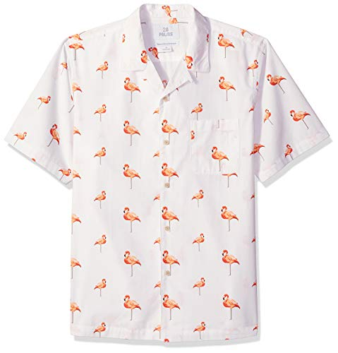 28 Palms Men's Relaxed-Fit 100% Cotton Tropical Hawaiian Shirt, Flamingo White/Pink Repeat, Small