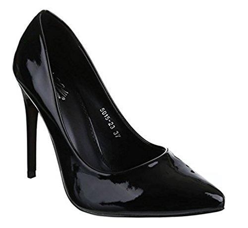 King Of Shoes Damen Lack Stilettos Pumps High Heels Plateau Schuhe Spitz 5015 Schwarz