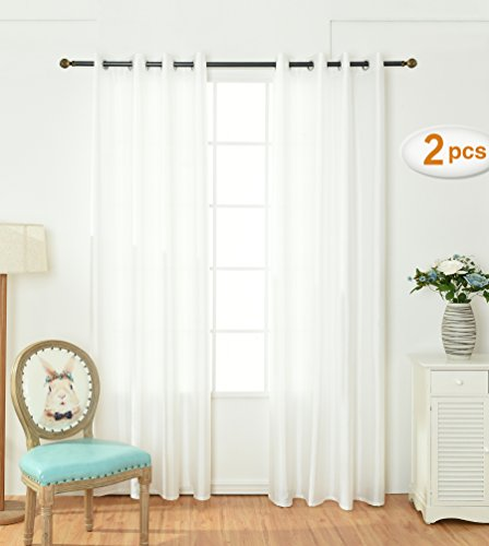 Opal Selection Semi-sanity Gauzy Curtains Natural Light Flow Faux Silk Durable Material Window Curtain Lined Drapes Treatment 2 Panels (54x 84, (Opal Coffee)