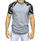 aiNMkm Round Neck T-Shirts Cotton,Men Casual Summer Camouflage Print Short Sleeve O-Neck Tops Blouse T-Shirt,Gray,L