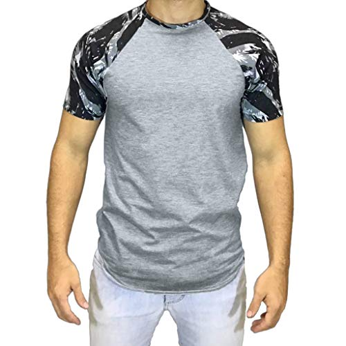 Print Cotton Interlock Turtleneck (Men Summer Tops Casual Camouflage Print T-Shirt Short Sleeve Blouse Vest Polos for Gym Sport and Casual)