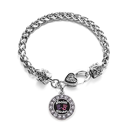Inspired Silver Social Worker Circle Charm Braided Bracelet Silver Plated with Crystal Rhinestones (Link Circle Plated)