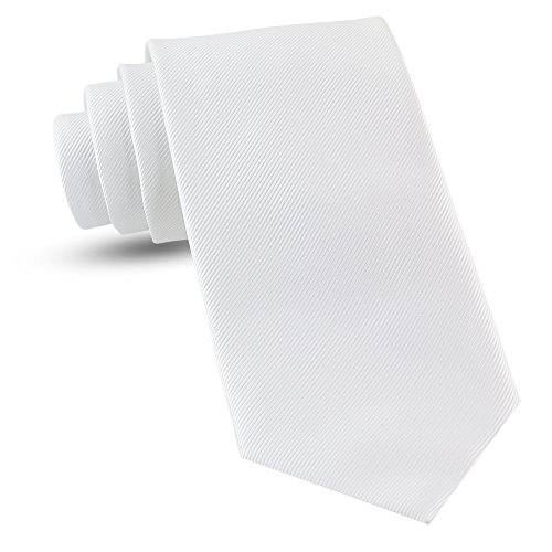 Handmade XL White Ties For Men Woven Big and Tall Tie Mens Ties : Solid Color Necktie, Extra Long Neckties For Every Outfit