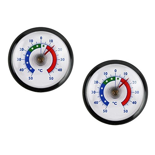 Termómetro para frigorífico Lantelme, conjunto de 2unidades, redondo, bimetal, analógico, adhesivo, indicador de temperatura +/-50°C, color negro