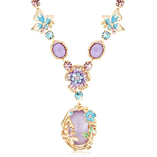 The Starry Night Bohemian Style Purple Crystal Beautiful Flower Girl Femininity Noble Temperament Necklace
