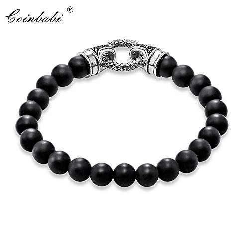 - Black Onyx & Silver with Clasp Length 16-25Cm | for Men and Women | Trendy Gift | Style Rebel Heart Charm Bracelets