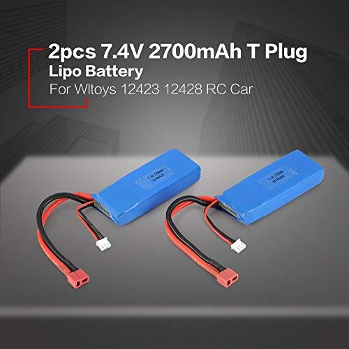 Mimagogo 2pcs 7.4V 2700mAh Lipo Akku T-Stecker f/ür WLtoys 10428-A 10428-B RC Auto-LKW