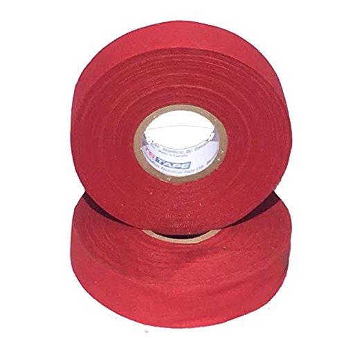 Sports Tape Athletic Tape (Hockey Lacrosse Stick Tape, Baseball Bat Tape) 2 Pack (Red, 1