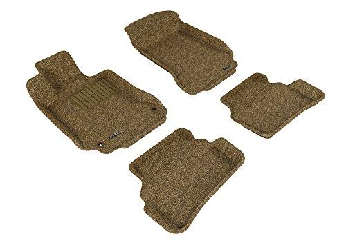 3D MAXpider Complete Set Custom Fit Floor Mat for Select Mercedes-Benz C-Class Models - Classic Carpet (Tan)