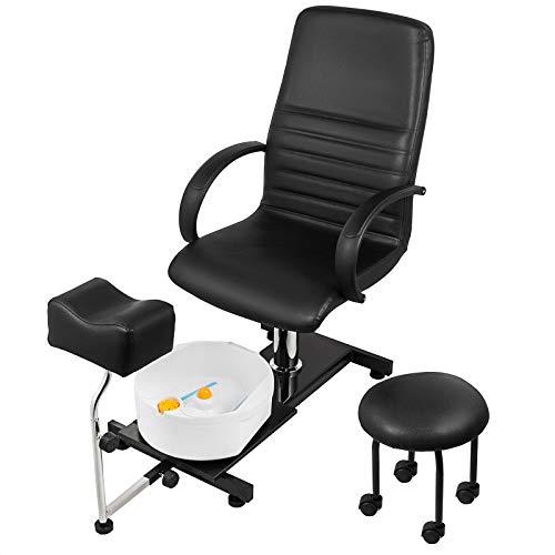 LOVSHARE Hydraulic Lift Adjustable Spa Pedicure Unit with Easy-Clean Bubble Massage Footbath Black