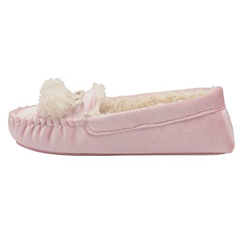 Dunlop Damen Anouska Weiches Velours Kunstpelz Futter Mokassin Hausschuh Blush - Pink