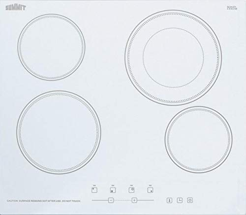 Summit CR4B23T 24 Inch Wide Built-In Electronic Cooktop with Dual Cooking Zone a, White