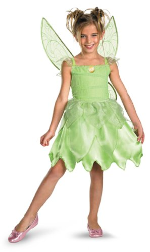Child Tinkerbell Fairy Princess Costumes - Girls Disney Fairies Tink and The Fairy Rescue Classic Costume, Large/10-12