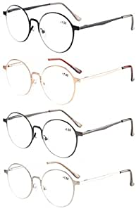 Eyekepper 4-Pack Quality Metal Frame Retro Round Spring Hings Reading Glasses +1.5