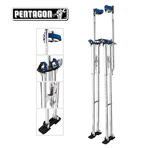 Pentagon Tools | Professional 48''- 62'' | Silver Drywall - Painting - Work Stilts | Aluminum by Pentagon Tools